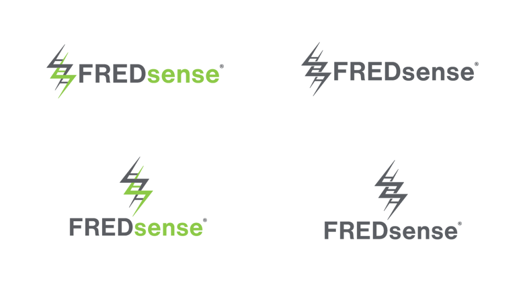 FREDsense's new logo in horizontal and vertical lockups, as well as their single-colour counterparts.