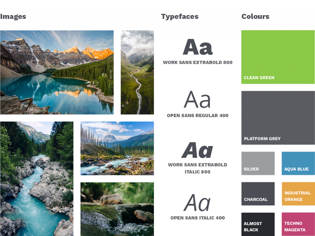 FREDsense's brand style at a glance, including imagery, typography, and colour palette.