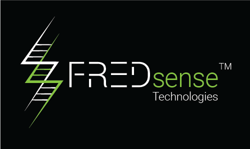 The old FREDsense logo, inverted, on a black background.