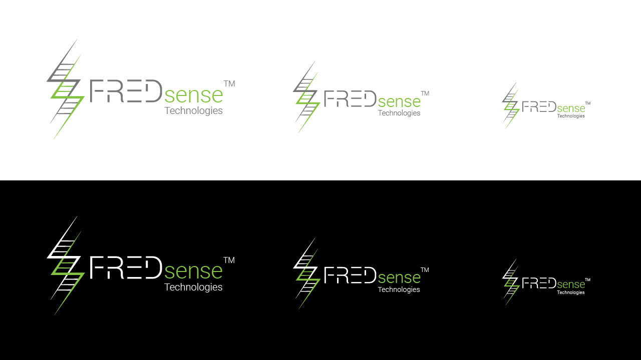 A demonstration of the old FREDsense logo as it scales down in size, on both the regular and inverted versions.