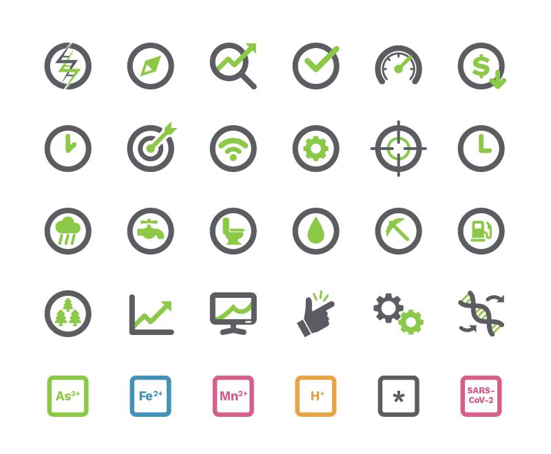 A sample of FREDsense's custom icons.